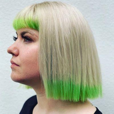 Neon Green Hair | Blunt Bob