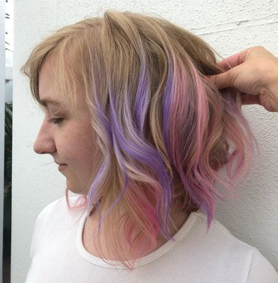 Fashion Color Balayage | Pink Purple Hair