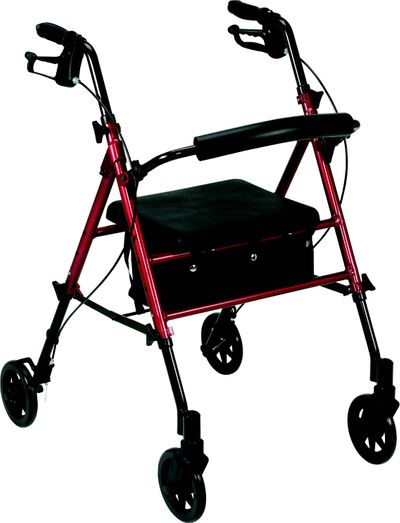 Rollator 4 wheels black and red