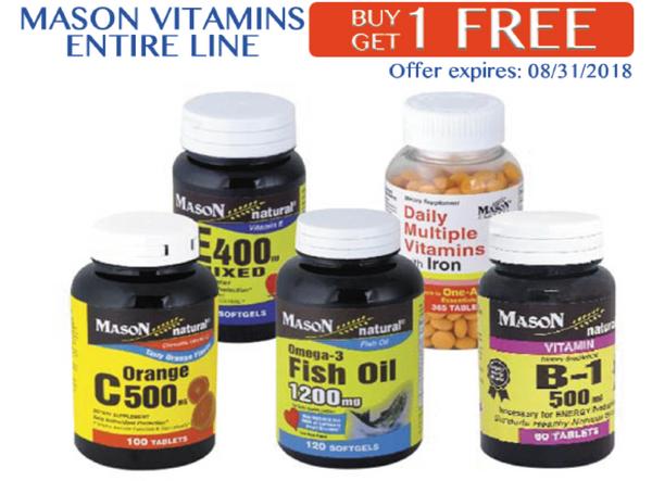 Mason Vitamins Entire Line Buy 1 Get 1 Free