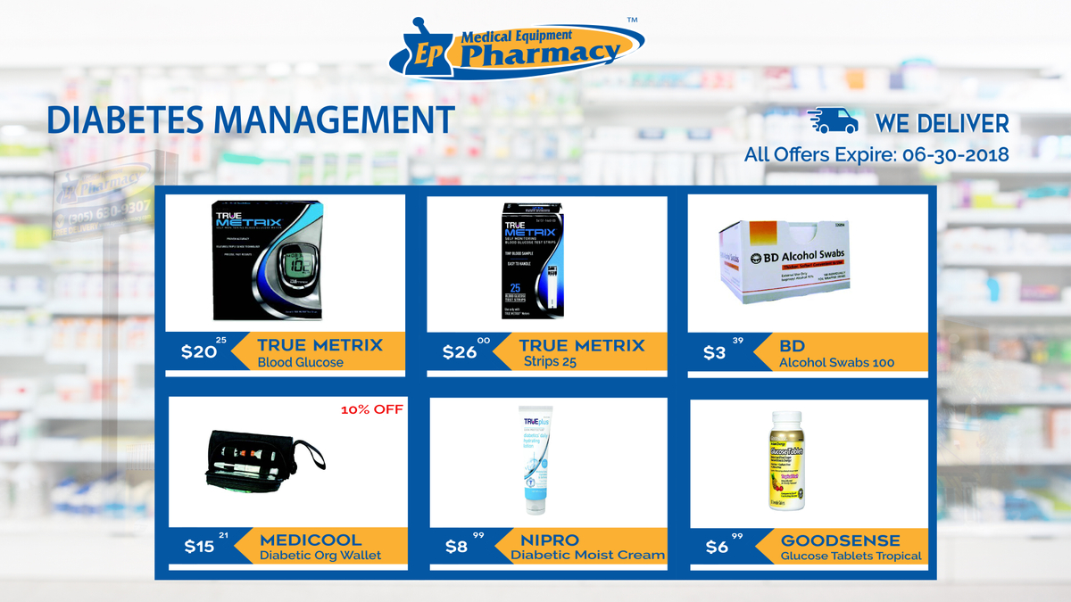 Diabetes management products at EP Pharmacy