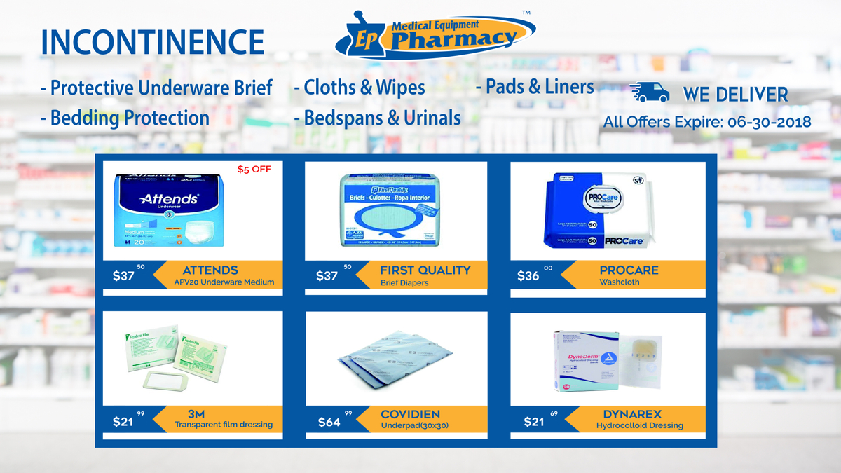 Incontinence products at EP Medical Equipment Pharmacy