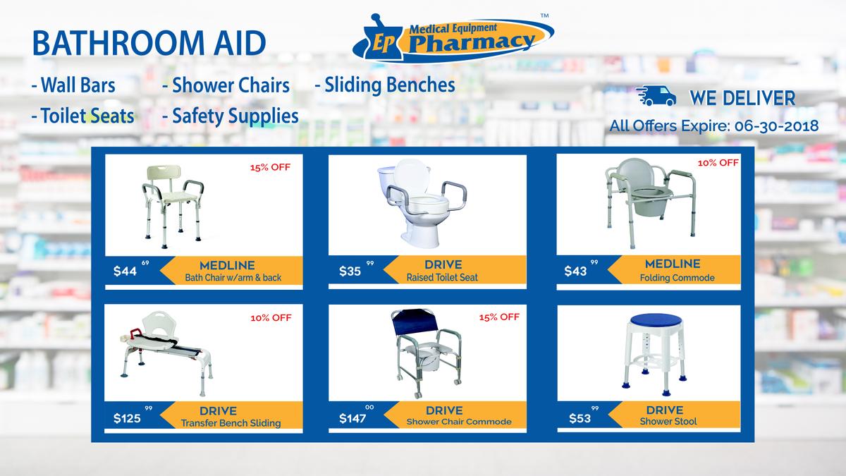 Bathroom aids at EP Medical Equipment Pharmacy