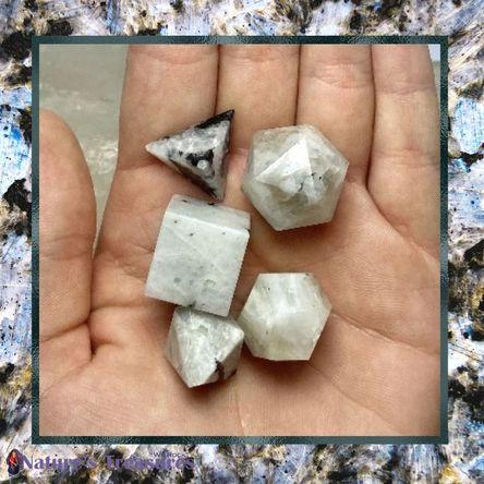 Sacred Geometry Platonic Solids Rainbow Moonstone