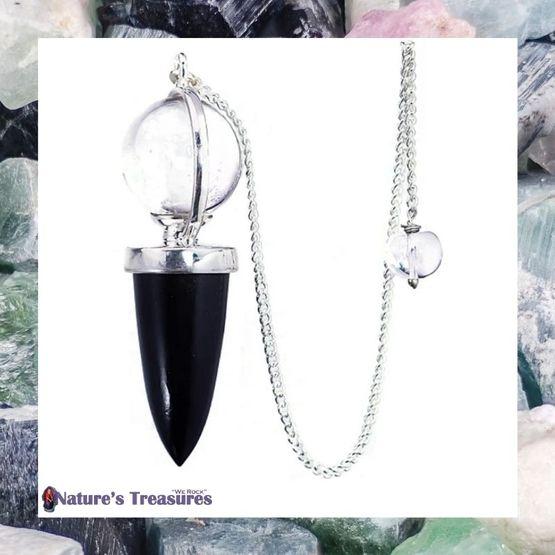 Black Tourmaline Crystal Ball Pendulum
