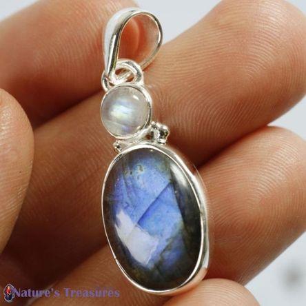 Rainbow Moonstone and Labradorite healing crystal gemstone pendant