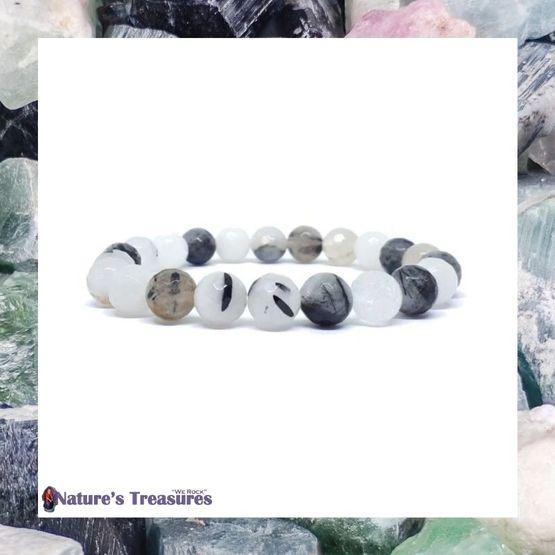 Faceted Tourmalinated Quartz Bracelet