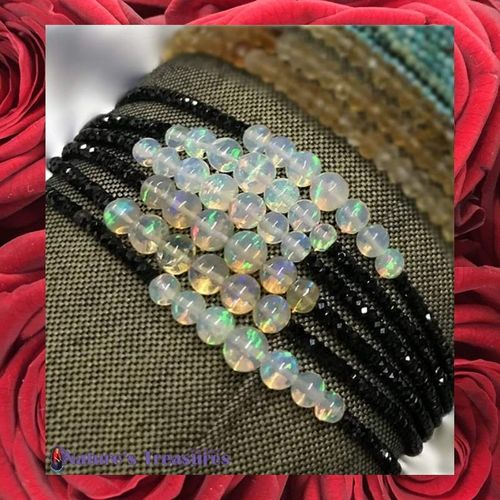 Black Spinel & Precious Opal Bracelet