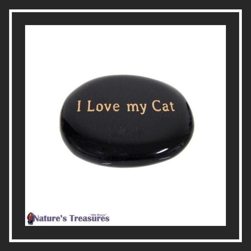 Black Onyx I Love My Cat Pocket Stone
