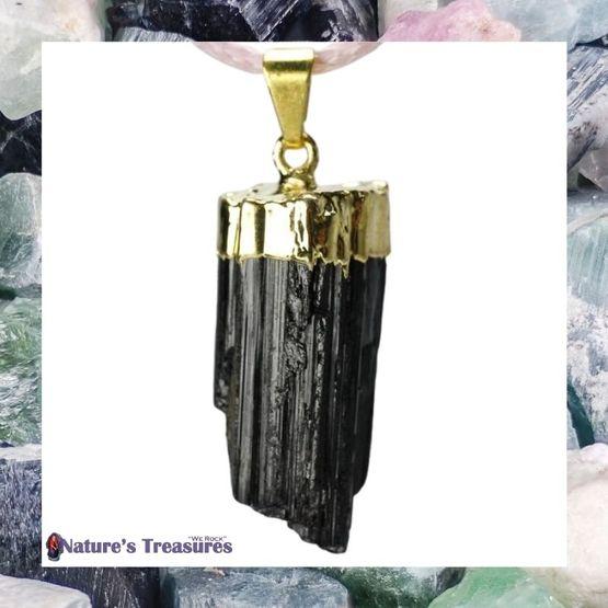 Gold Plated Black Tourmaline Pendant
