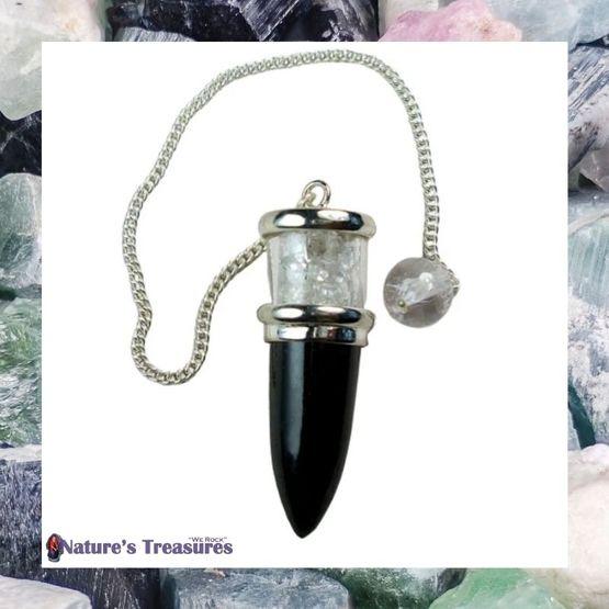 Black Tourmaline & Herkimer Diamond Pendulum