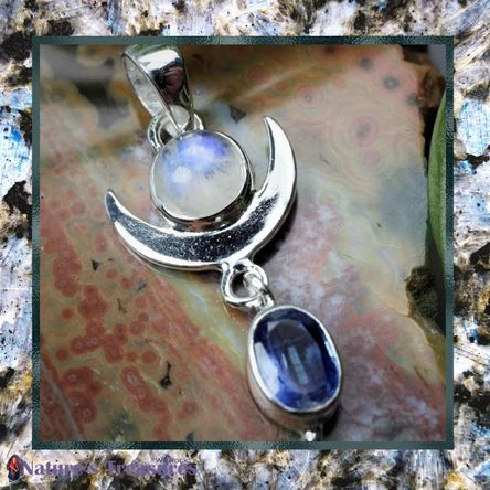 Rainbow Moonstone and Blue Kyanite Crescent Moon Sterling Silver Pendant