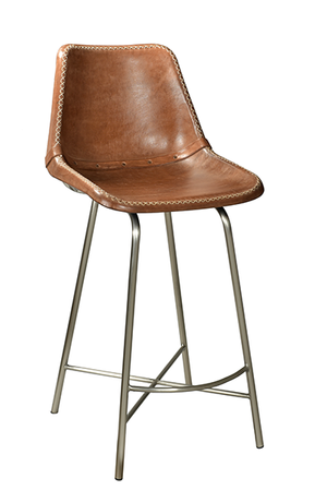 McLaren's Antiques & Interiors - Brown Leather Bar Chair