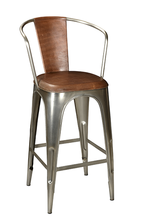 McLaren's Antiques & Interiors - Iron Leather Bar Chair