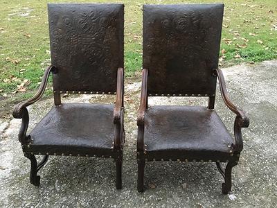 McLaren's Antiques & Interiors - Pair Leather Chairs
