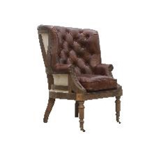 McLaren's Antiques & Interiors - Leather Wingback Chair Brown