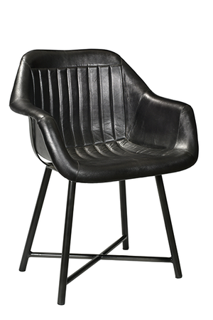 McLaren's Antiques & Interiors - Black Leather Chair