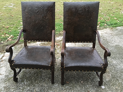 McLaren's Antiques & Interiors - Pair Leather Chairs