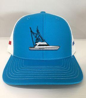 HC Fishing blue w/boat on front Hat