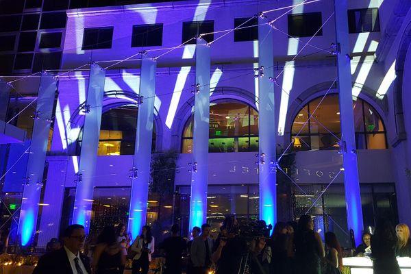 Lighting outside of Sofitel Hotel