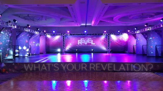 Stage with Pink and Purple Lighting at Hilton Long Beach