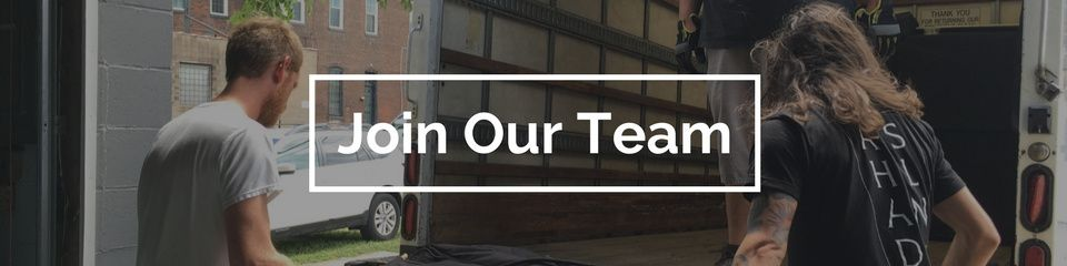 Join our team header with two men loading equipment onto a truck