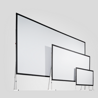 Three different sized projection screens