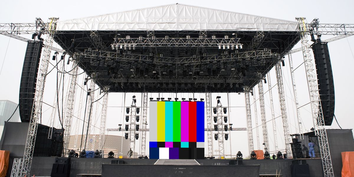 Large stage with led video wall and speakers outside