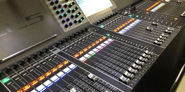 Close up of audio mixer