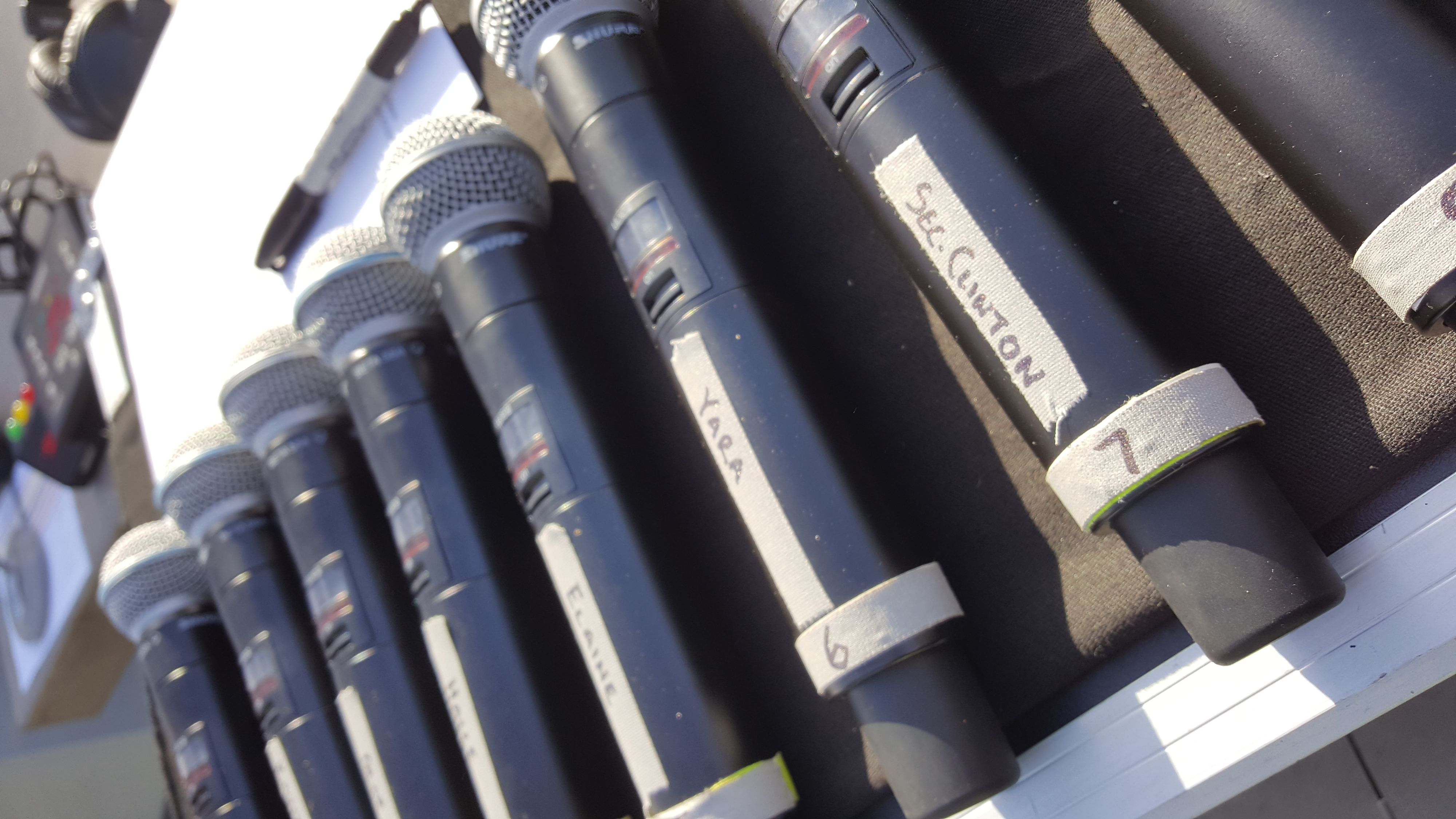Close up of Shure Wireless Microphones