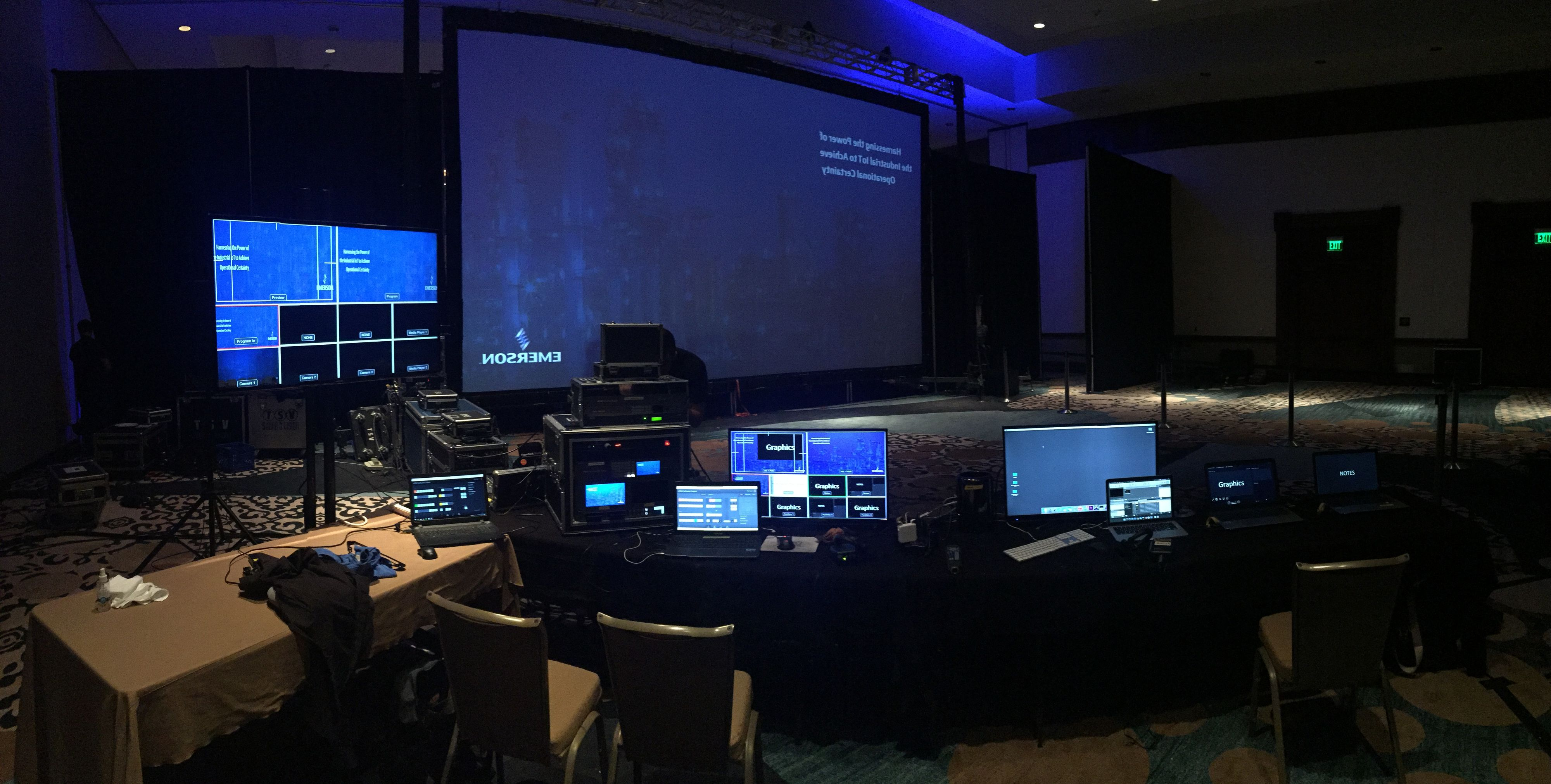 Video Village with video screens and switchers at event