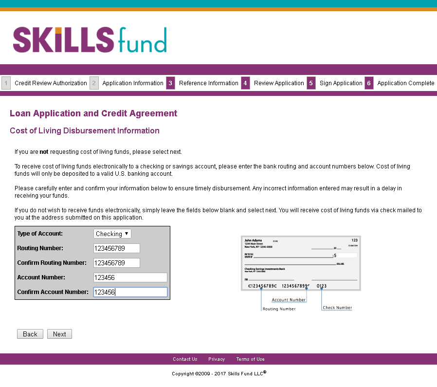 Skills Fund Cost of Living Loan Application