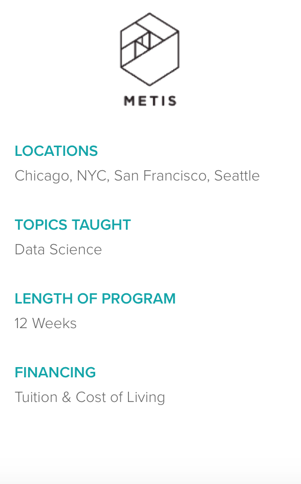 Information about Metis bootcamp