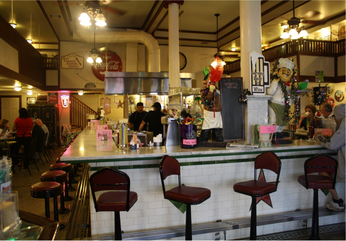 Original soda fountain bar circa 1915
