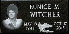 Black Granite Single Marker With Laser Etched Portrait And Angel.