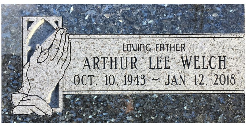 Blue Pearl Granite Foot Stone with Praying Hands.