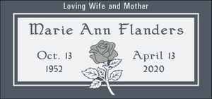 Cloud Black Granite Headstone with Rose and Frosted Panel
