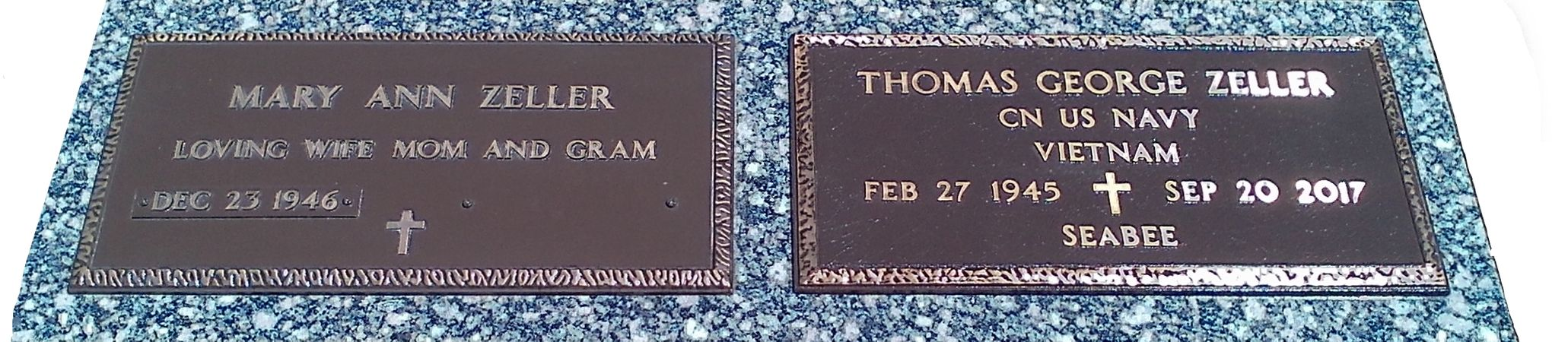Double Flat Bronze Veteran Style Plaques on Granite Backer.