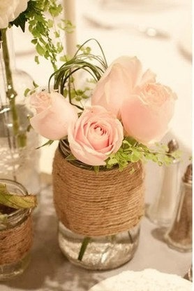 wrapped mason jars event decor