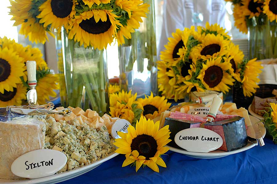 sunflowers and cheese plates