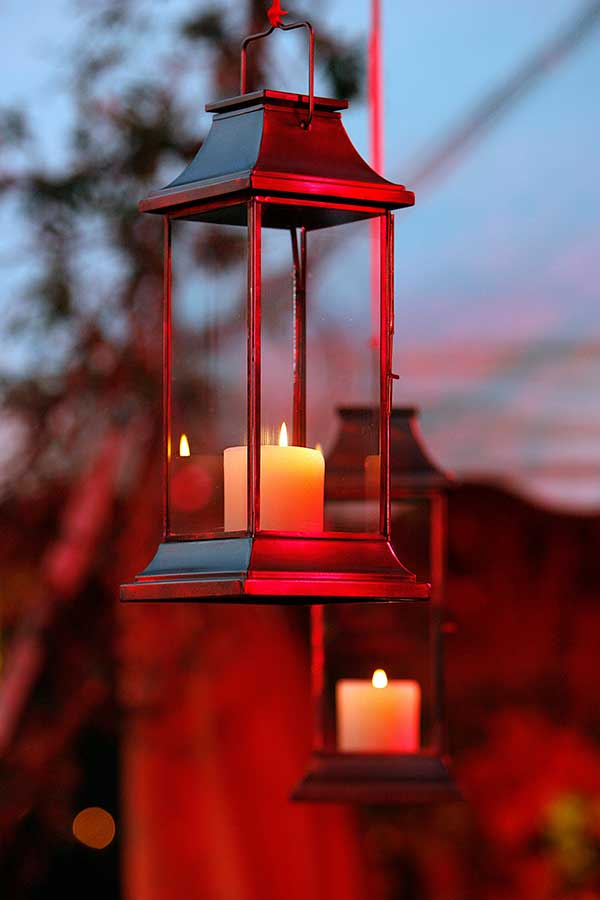 outdoor lantern with candle