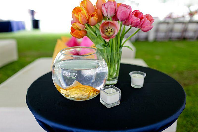 Keri & Brian fish bowl and tulips