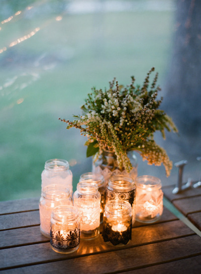 event planning - mason jar candle holders