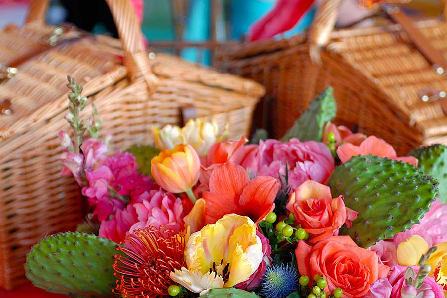 flowers and wicker picnic baskets