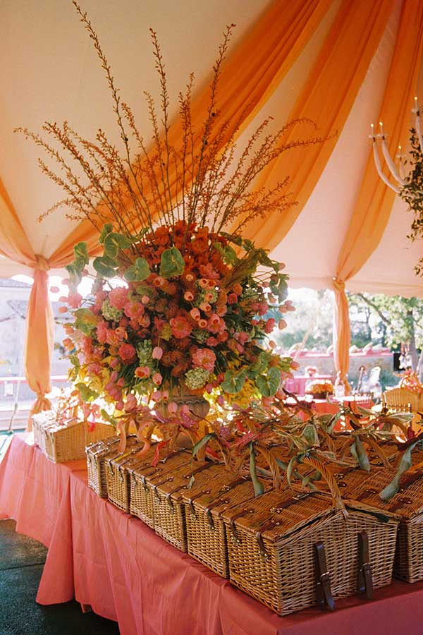 outdoor tent with wicker baskets