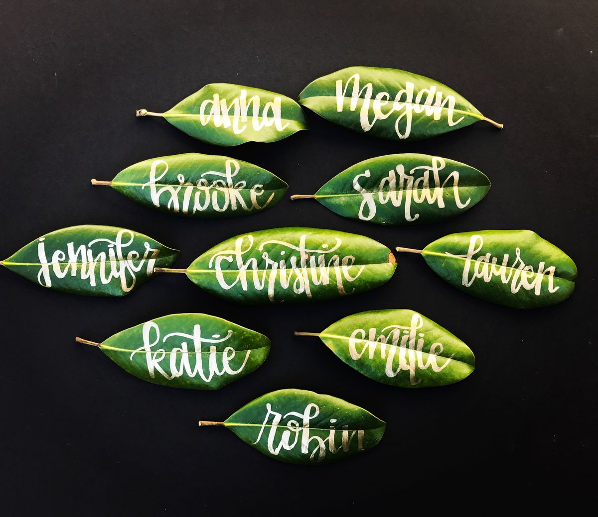 Magnolia Leaf Gold Calligraphy Place Cards.jpg
