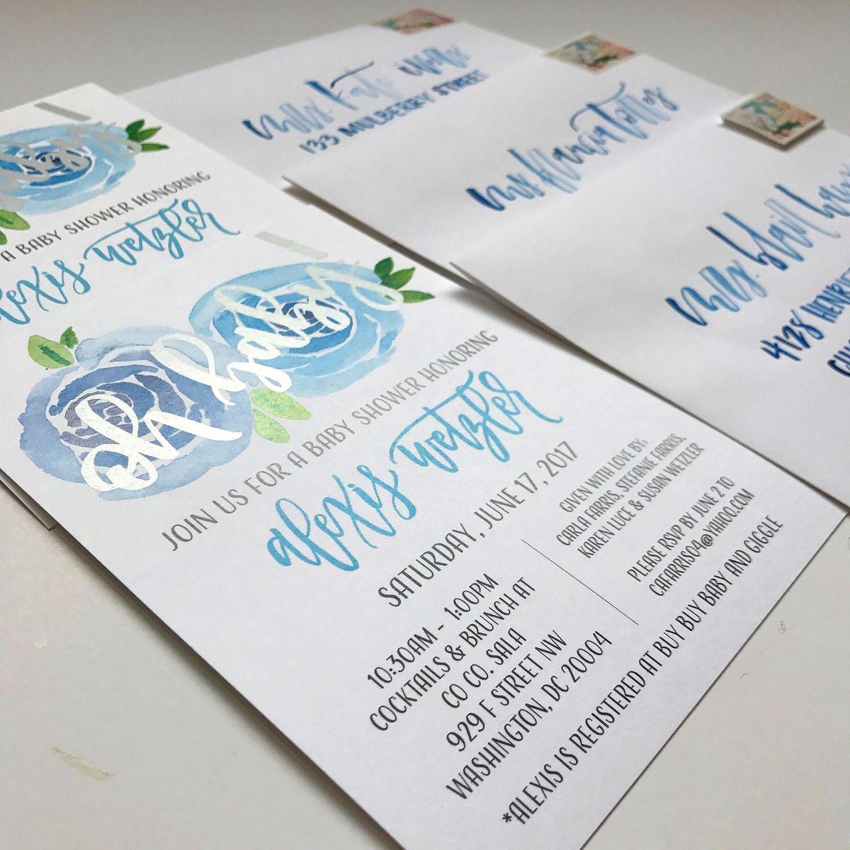 Blue Rose Watercolor Metallic Silver Baby Shower Invititation.JPG