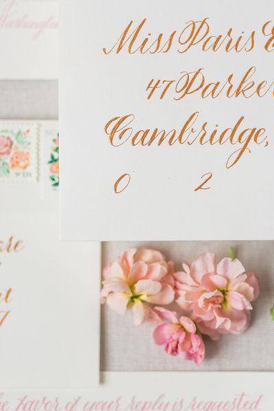Gold Calligraphy on Wedding Envelope