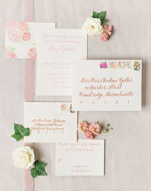 Vintage Bridal Luncheon Invitation Suite