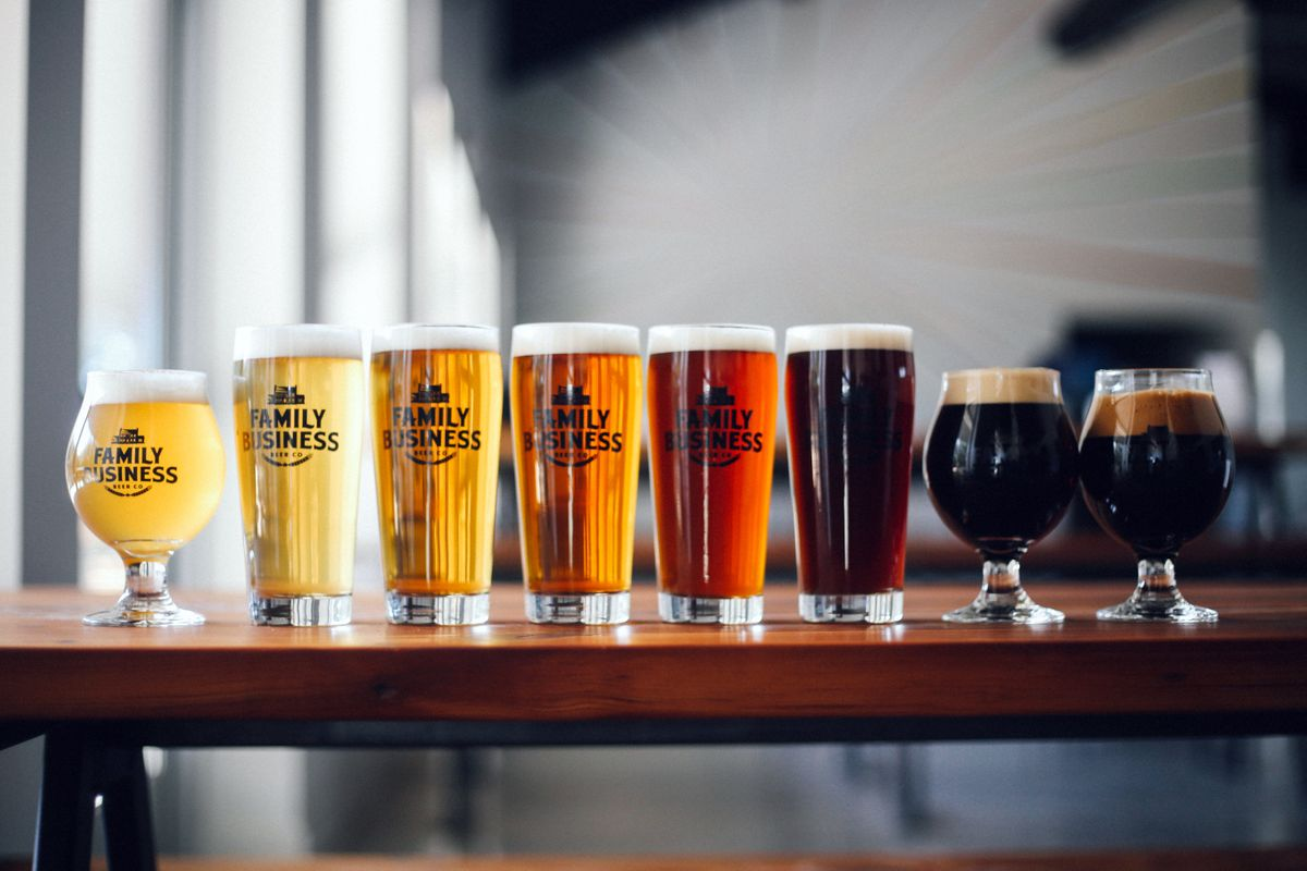 left to right_ Ghost White IPA,  Fox Rye Lager, Hamilton Pale Ale, Cosmic Cowboy IPA, King Biscuit, Haulin' Oats, Winter Warmer, Grackle Imperial Stout.jpg